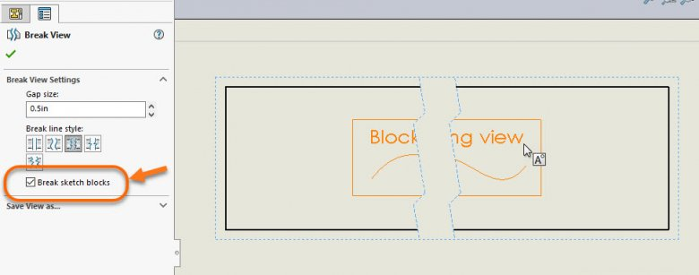 SOLIDWORKS Drawing Block broken with Drawing View