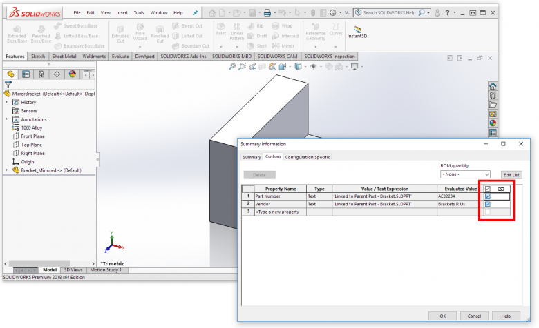 "New ""Linked"" column for custom properties in SOLIDWORKS 2018"