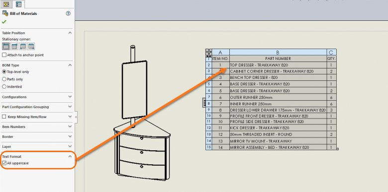 SOLIDWORKS 2018 Table All Uppercase Option