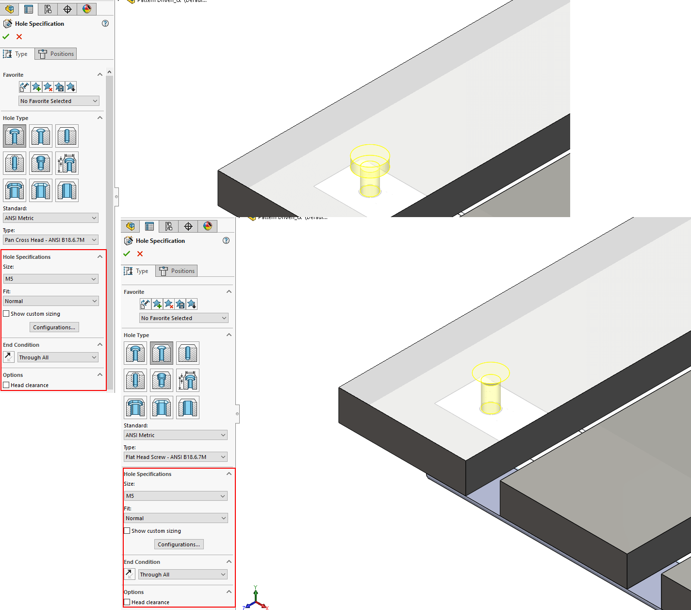 SOLIDWORKS 2017 Advanced Hole Wizard for complex multi-step holes