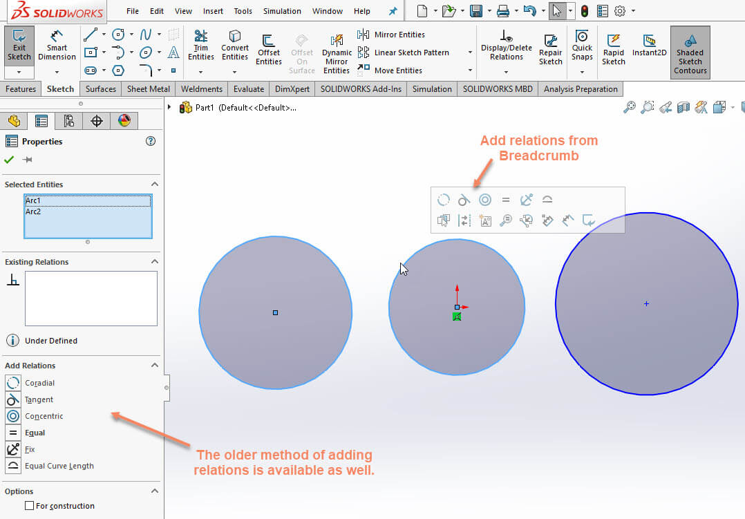 SOLIDWORKS Add Relation Breadcrumb