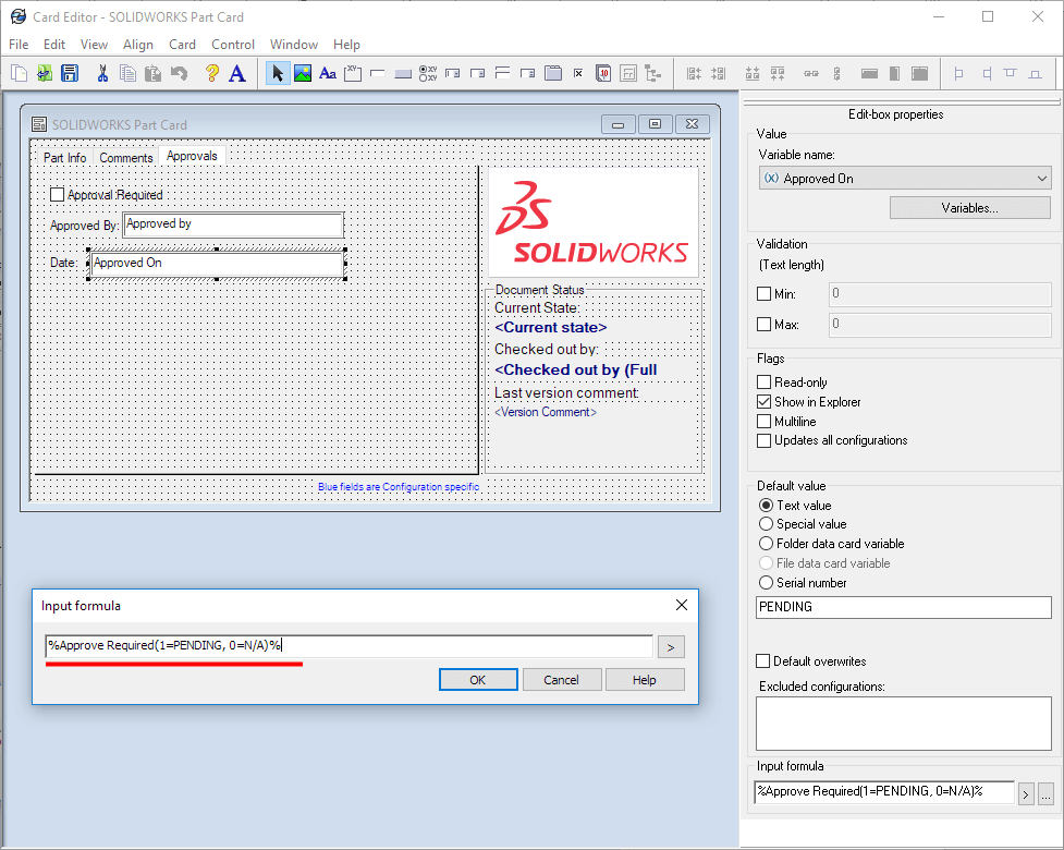 SOLIDWORKS PDM Card Editor