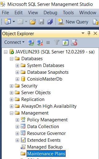 Maintenance tab of Object Explorer