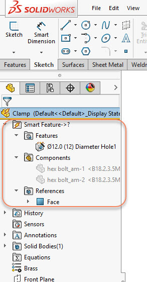 Smart Feature Folder Is Added to the Feature Tree in Clamp Part Model
