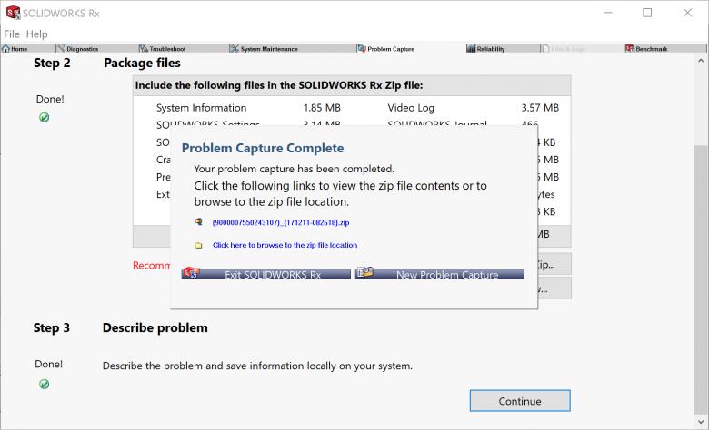 SOLIDWORKS Rx Problem Capture Complete