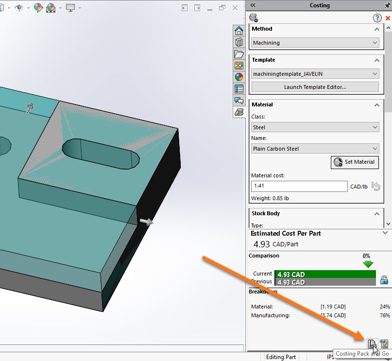 SOLIDWORKS Costing Pack and Go
