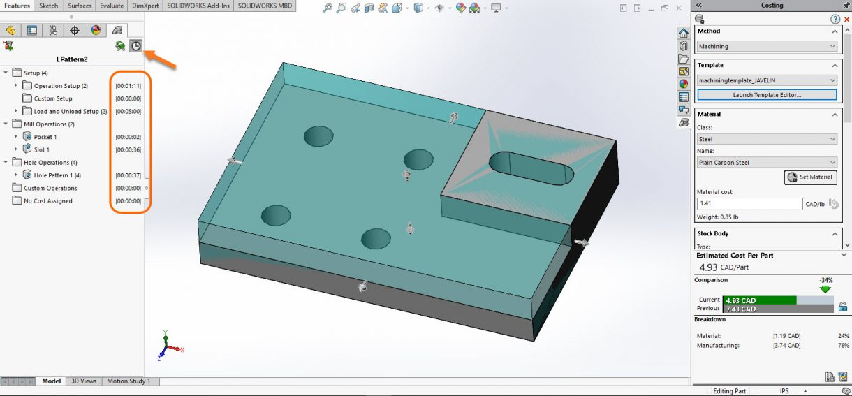 SOLIDWORKS Costing Time per Operation