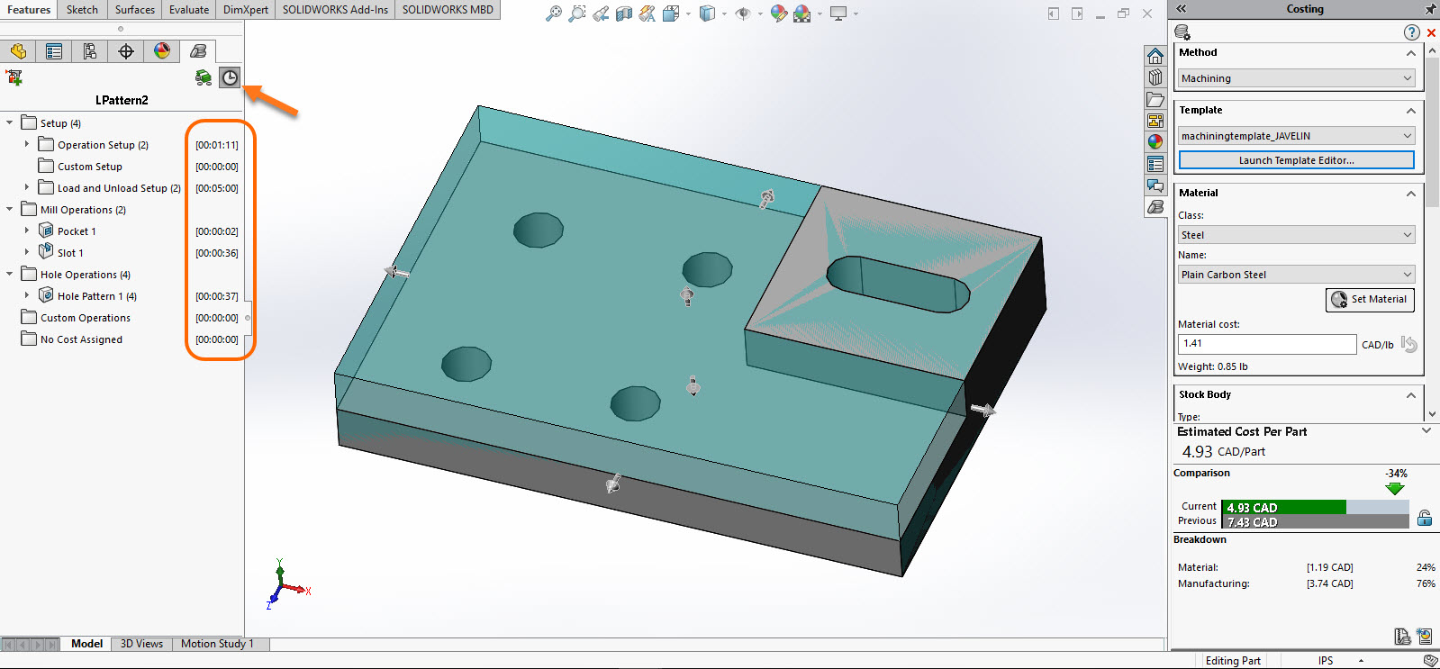 SOLIDWORKS Costing Time per Operation and Time per Part
