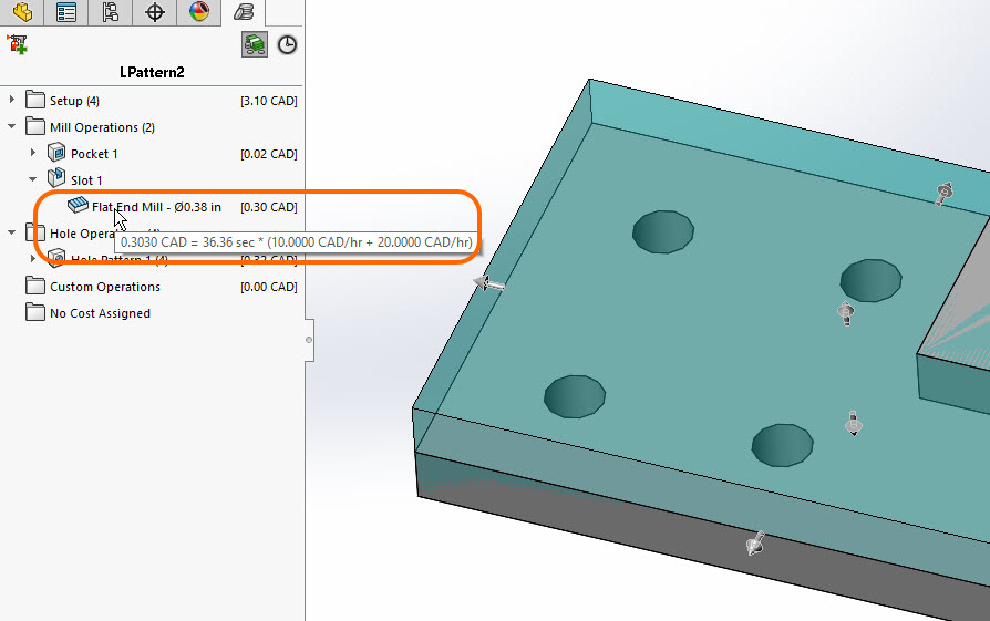 SOLIDWORKS Costing - Tooltip to show time