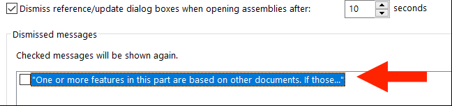 Dismiss reference/update dialog