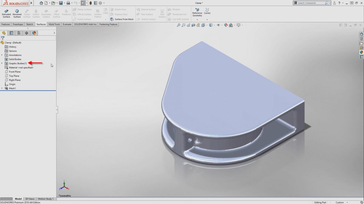 Working with Mesh data in SOLIDWORKS 2018 demo video