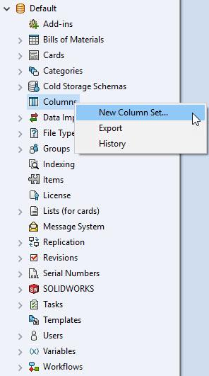 Administration Tool > Columns > Right Click > New Column Set...