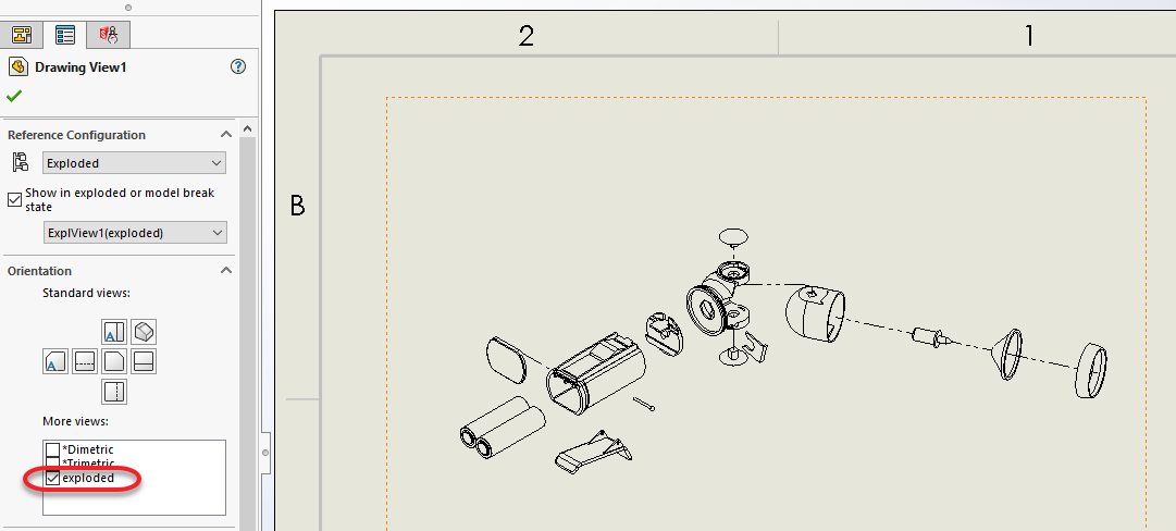Using Solidworks Named Views In Exploded Assembly Drawings