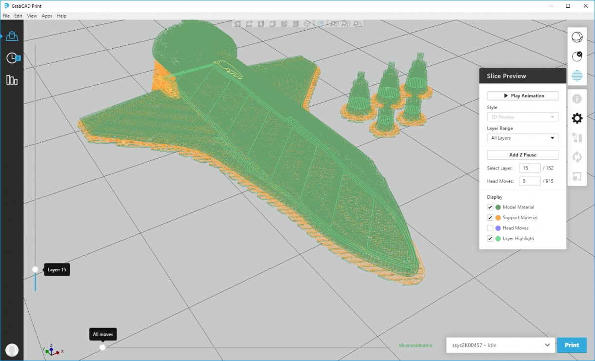 GrabCAD Print Slice Preview