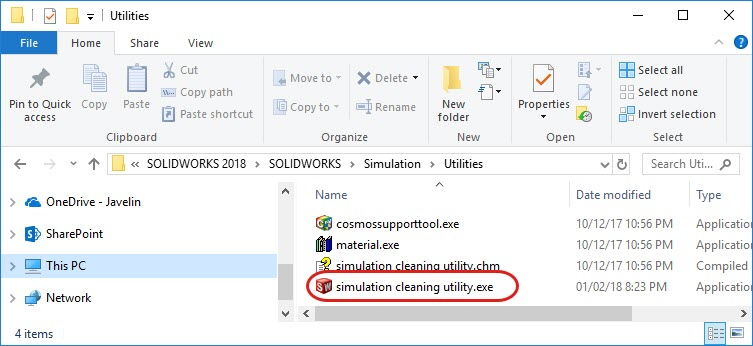 Simulation Cleaning Utility Executable Location