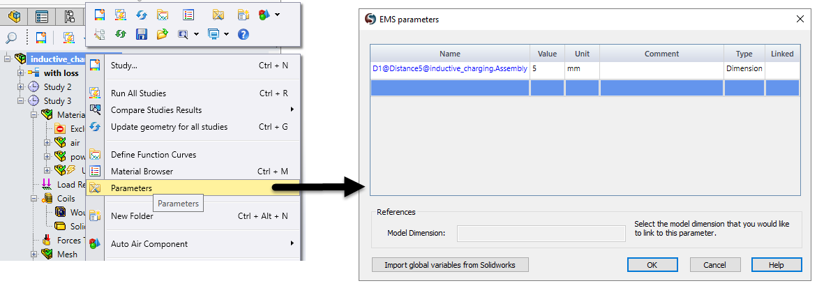 Selecting a SOLIDWORKS dimension as a parameter