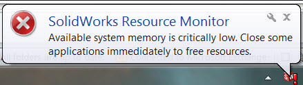 Deciphering a SOLIDWORKS Resource Monitor Warning Message