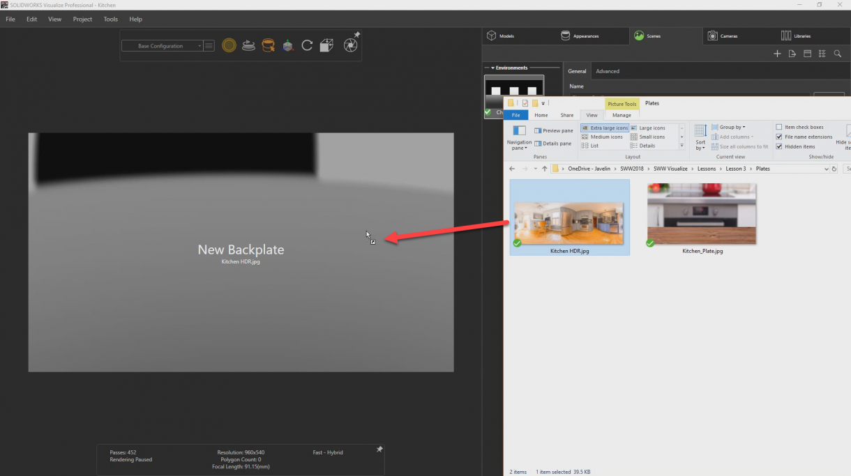 Drag and Drop the Kitchen HDR image file directly into the Visualize Project