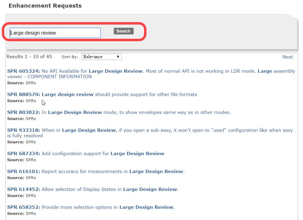 SOLIDWORKS Software Performance Enhancement request list