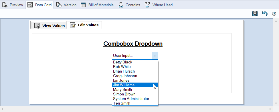 SOLIDWORKS PDM Combobox Styles Reference