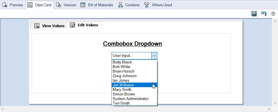 Combobox Dropdown