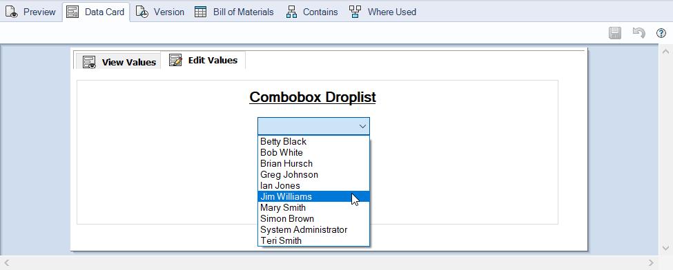 Combobox Droplist