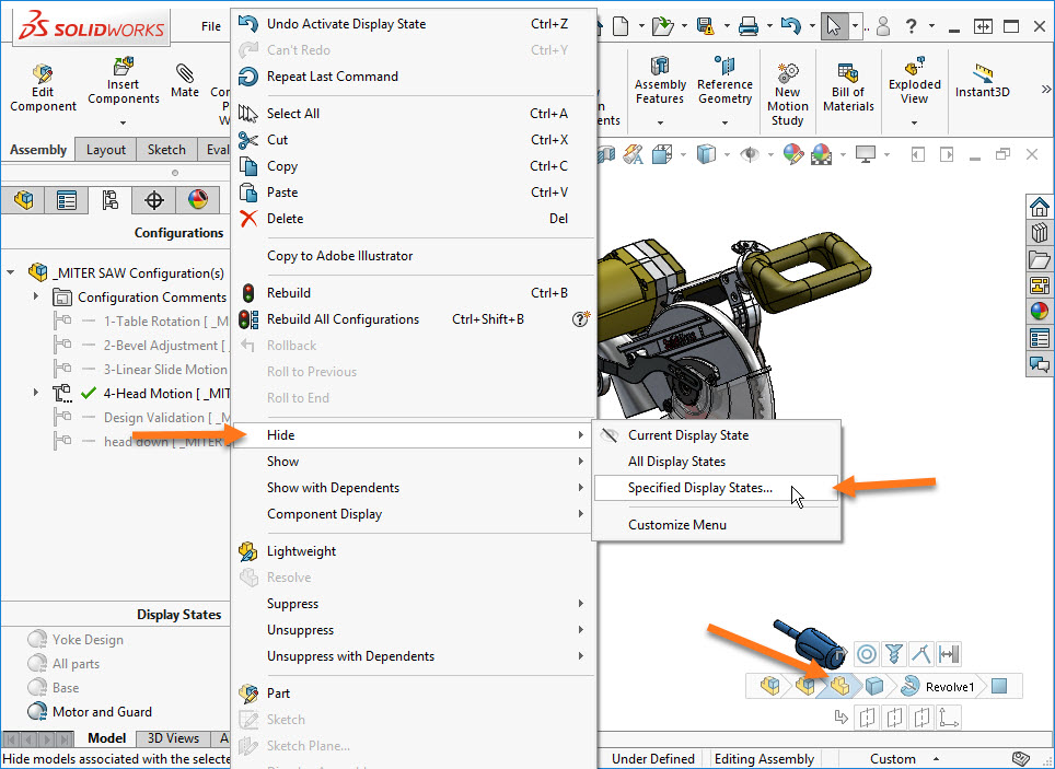 how to change all to visible in solidworks