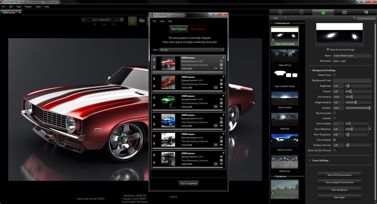 SOLIDWORKS Visualize Professional Features not available in
