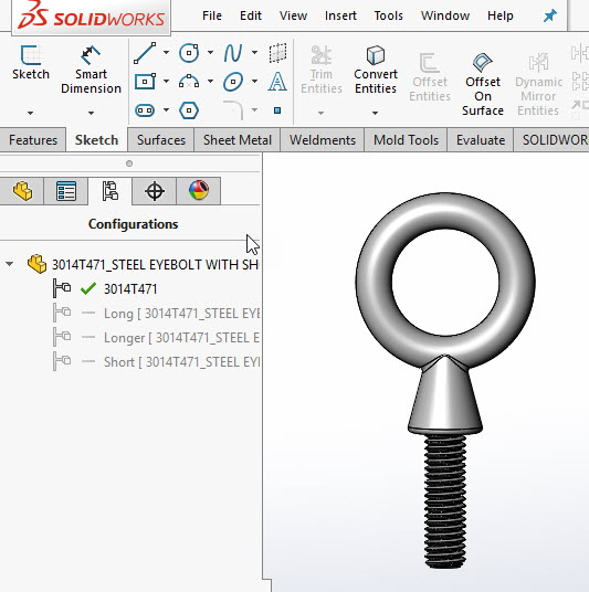 Configurations are added to downloaded Eye-bolt