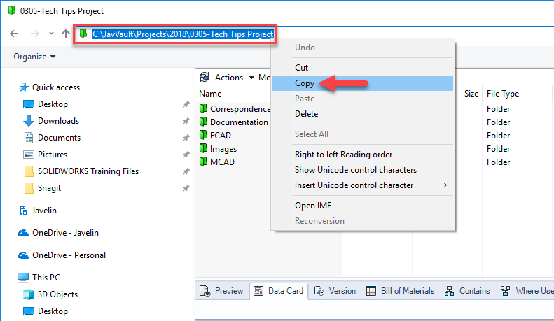 How to create a SOLIDWORKS PDM folder shortcut in Windows 10