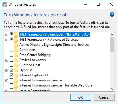 Windows .NET Framework features