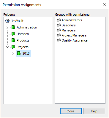 Permission Assignments Dialog Box