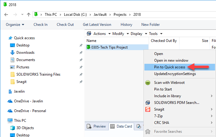 Right-click folder > Pin to Quick access