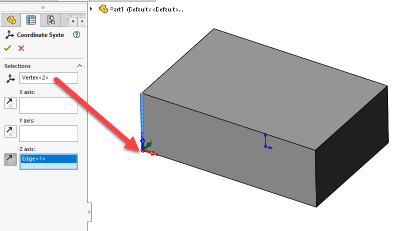 SOLIDWORKS Coordinate System Location