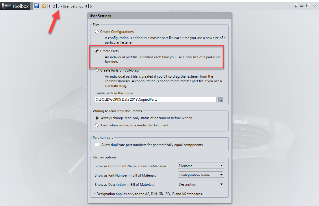 SOLIDWORKS Toolbox Create Parts User Settings