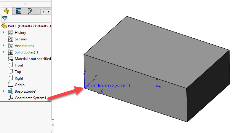 SOLIDWORKScoordinate system