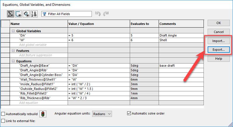 Link SOLIDWORKS variables