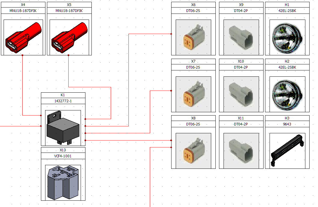 Electrical harness design and mechanical components can be added to a connection overview