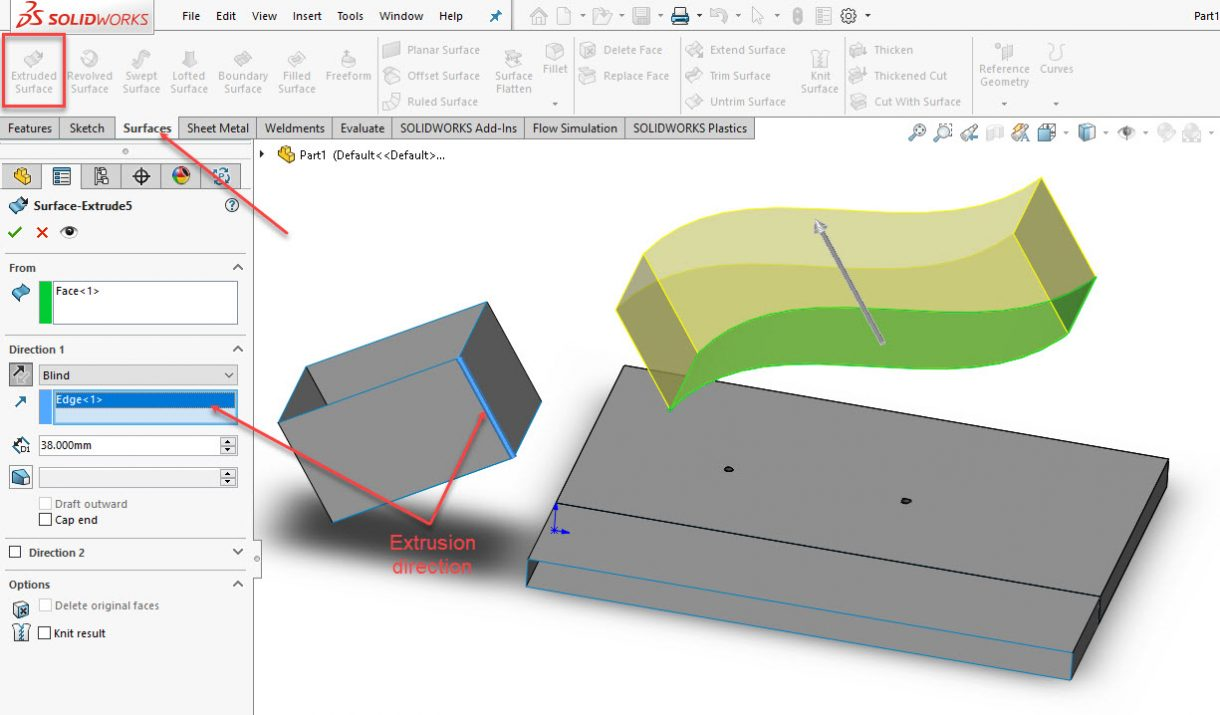 SOLIDWORKS Surface Extrude