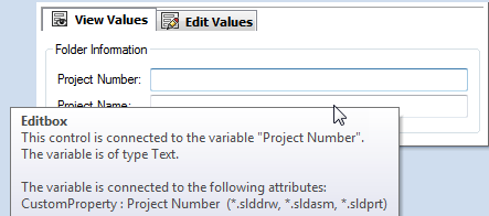 SOLIDWORKS PDM Variable connected