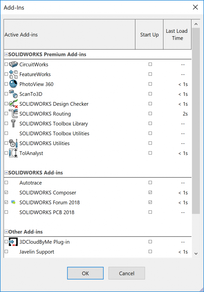 SOLIDWORKS Add-ins Dialog