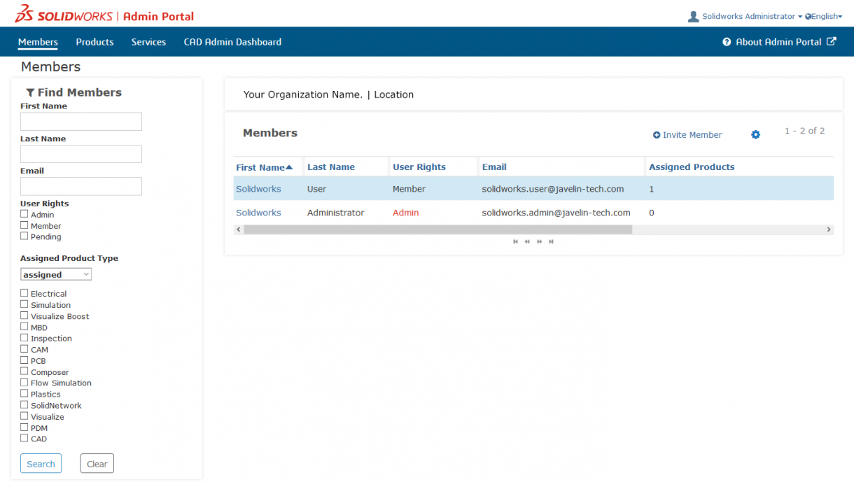 Main page of the SOLIDWORKS Admin Portal