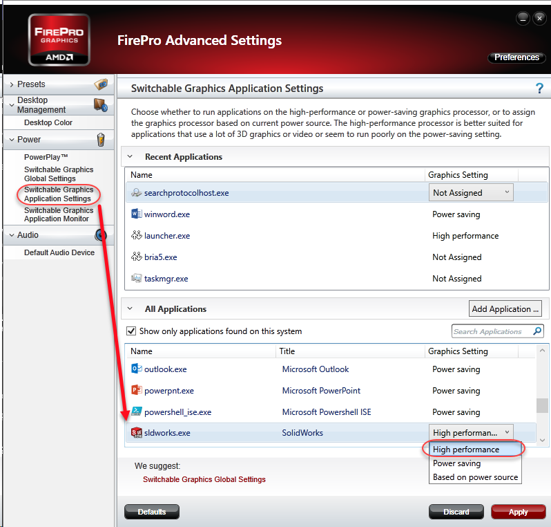 Selecting graphics processor in AMD FirePro Advanced Settings
