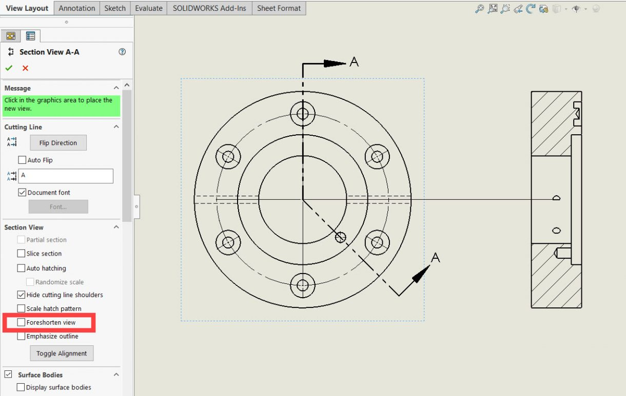 SOLIDWORKS Foreshorten view disabled