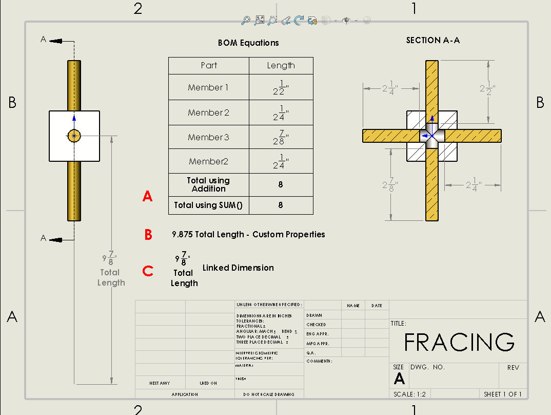 SOLIDWORKS fractions in the drawing