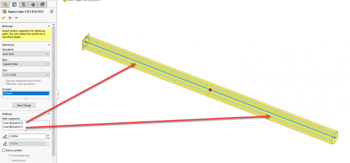 Split Weldment Path Segments