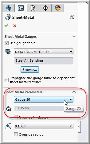 SOLIDWORKS Sheet Metal Gauge Parameters
