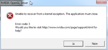How to resolve the 'Unable to recover from a kernel exception' error