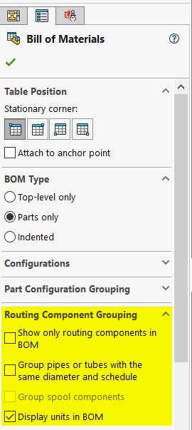 SOLIDWORKS Routing Component Grouping BOM Properties