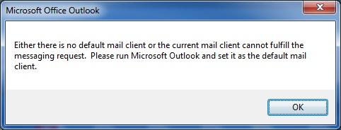 SOLIDWORKS PDM No Default Mail Client Error